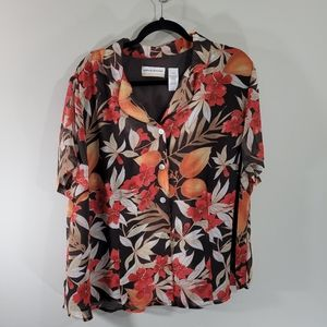 Alfred Dunner Island Floral Button Down Blouse